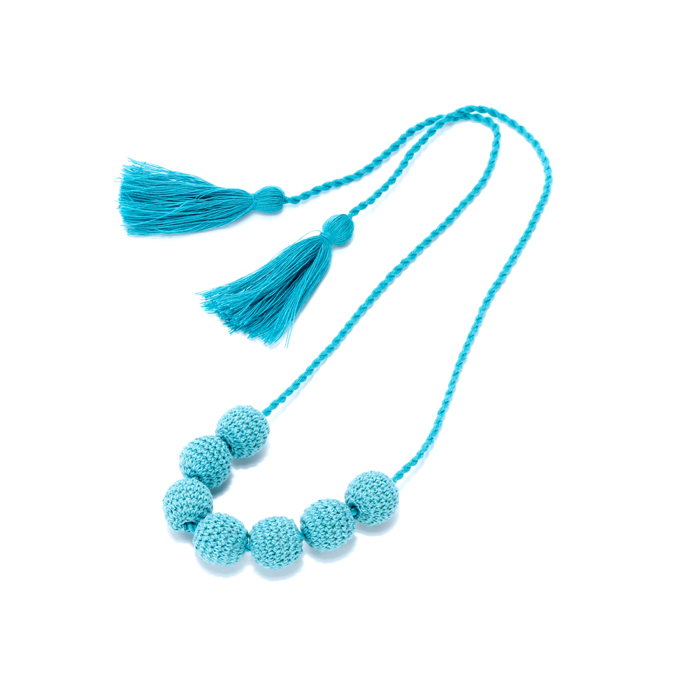 Crocheting Necklaces With Beads : Girls Crochet Bead Necklace - Aqua Blue