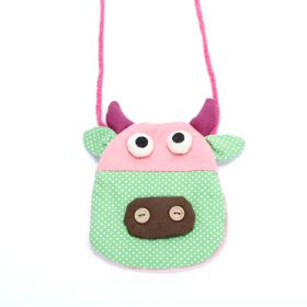 girls happy cow purse red polka dot