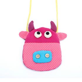 girls happy cow purse pink polka dot