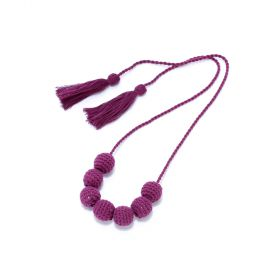 Girls Crochet Bead Necklace - Purple