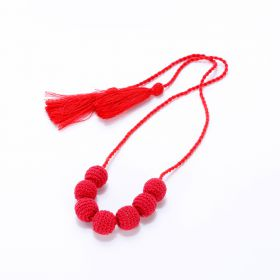 Girls Crochet Bead Necklace - Red
