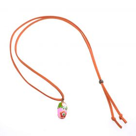 girls Baby Doll Necklace - orange