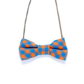 Girls Gingham Bow Necklace - Blue / Orange