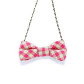 Girls Gingham Bow Necklace - Pink / Green