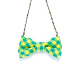 Girls Gingham Bow Necklace - Yellow / Green