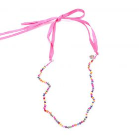 girls colorful wood bead necklace