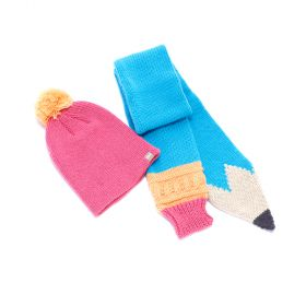 Girls Pencil Scarf with Pompom Beanie Set - Blue