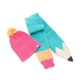 Girls Pencil Scarf with Pompom Beanie Set - Green