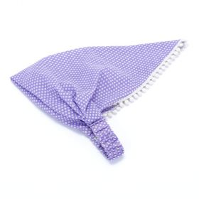 Girls Polka Dot Head Scarf with Pom Pom Lace