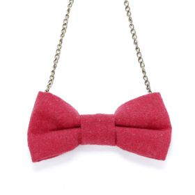 girls Bow Collar Necklace - Cherry