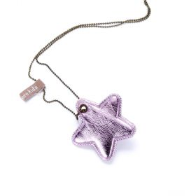 girls Twinkle Star Necklace - Metallic Pink