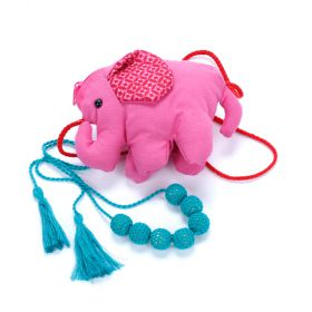 Girls Elephant Purse & Crochet Bead Necklace Set