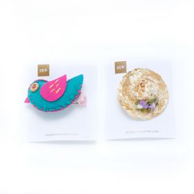 girls Patchwork Bird & Mini Straw Hat Hairclip Set