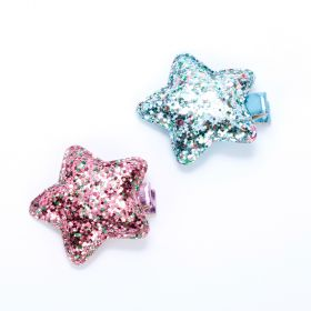 Girls Multicolor Glitter Star 2-PC Hairclip Set