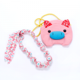 girls Piggy Purse & Loveable Necklace Set