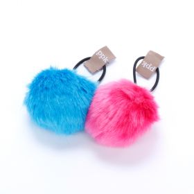 Girls Pompom Hair Tie (Blue & Hot Pink)