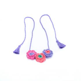 Girls Flower Crochet Necklace - Multi-Purple