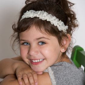 Girls Lace Rhinestone Headband - Ivory