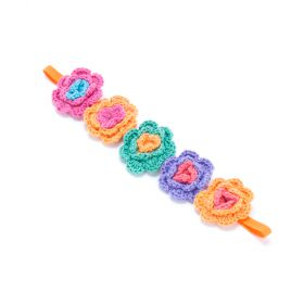 girls Crochet Flower Headband - Multi-Orange
