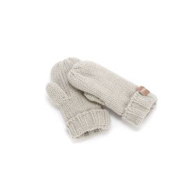Solid Fold-Up Edge Mittens - Light Grey