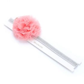 Little Girls Lace flower Metallic Headband - Silver / Rose