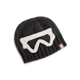 Boys Ski Goggle Knit Beanie - Charcoal Grey