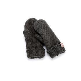 Solid Fold-Up Edge Mittens - Charcoal Grey