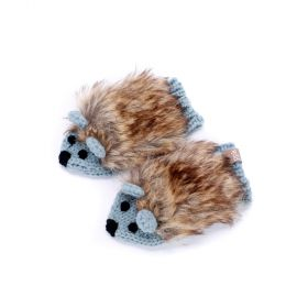 Girls Faux Fur Hedgehog Mittens - Frost Blue