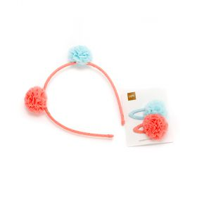 girls Bumblebee Pompom Headband & 2PC Tulle Pompom Hair Clip Set - Peach