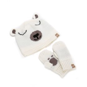 girls Polar Bear Beanie & Paw Mittens Set