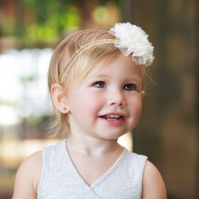 Little Girls Lace flower Metallic Headband - Ivory Gold