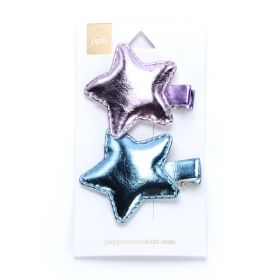 girls 2-PC Metallic Star Hair Clip Set - Pink / Silver