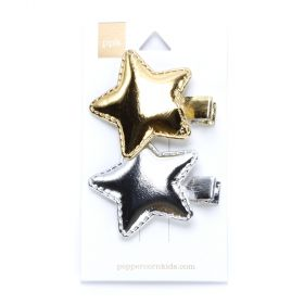 girls 2-PC Metallic Star Hair Clip Set - Gold / Silver