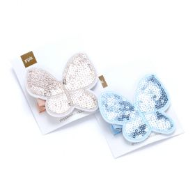 Girls Sequin Butterfly Hair Clip Set of 2 - Peach Pink/ Blue