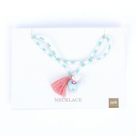 girls Birdie Charm Tassel Necklace   - Mint Green