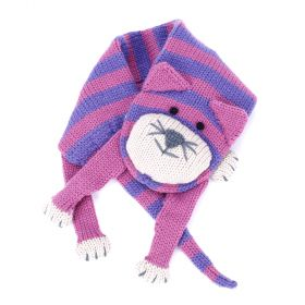 Girls Stripe Cat Scarf - Pink/ Purple