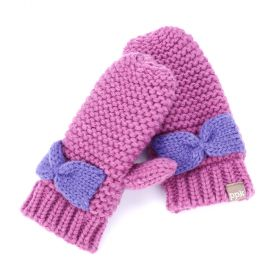 Girls Bow Mittens - Pink/ Purple - Wholesale