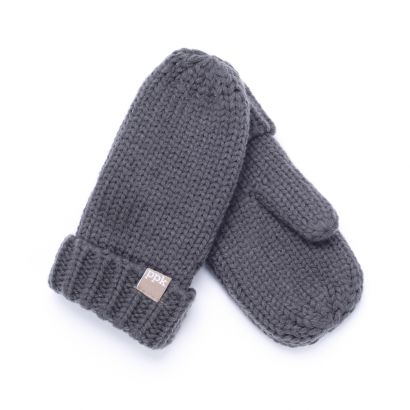 Solid Fold-Up Edge Mittens - Light Grey - Wholesale