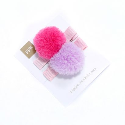 girls 2-PC Pompom Hair Clip Set