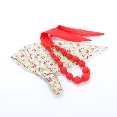 Girls Country Floral Headscarf & Loveable Necklace