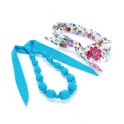 Girls Bow Tie-Up Headwrap & Loveable Necklace