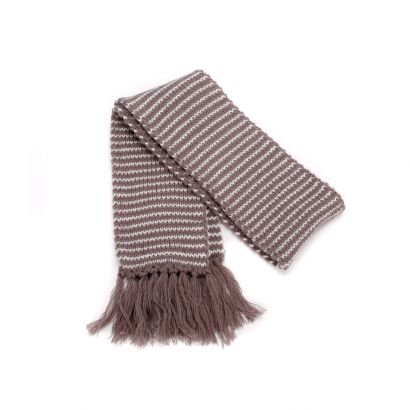 Girls Stripe Scarf with Yarn Tassels - Taupe