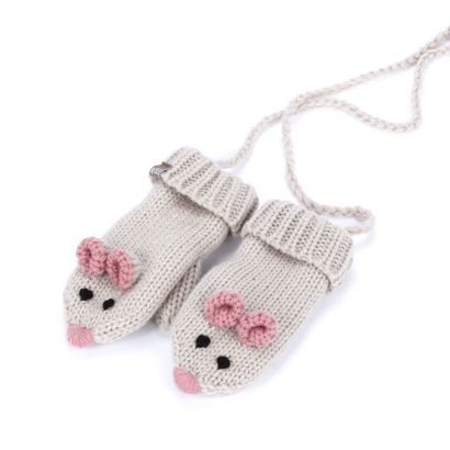 Girls Mouse Mittens with Cord - Beige - Wholesale