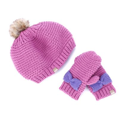 Girls Beret Pompom Beanie - Pink/ Purple - Wholesale